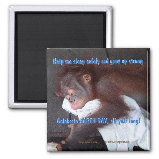 Economias do Dia da Terra o bebê do orangotango Ímã Quadrado