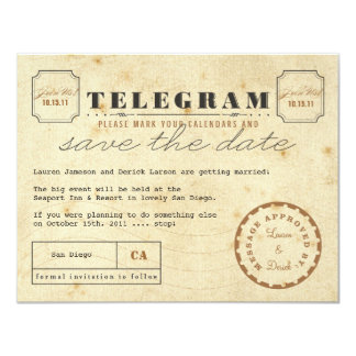 Economias do telegrama do vintage a data convite 10.79 x 13.97cm
