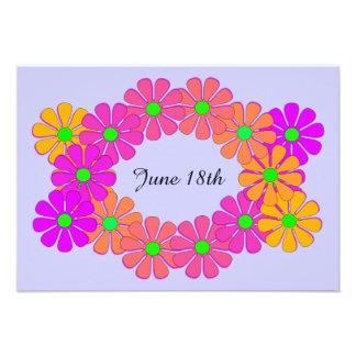 Economias florais festivas da grinalda o anúncio convite personalizado