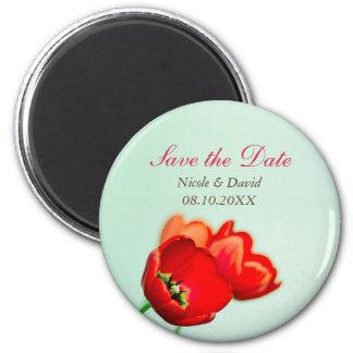 Economias florais vermelhas do anúncio da tulipa d imãs de geladeira