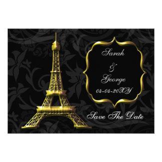 economias francesas do casamento da torre Eiffel d Convites Personalizado