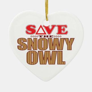 Economias nevado da coruja ornamento de cerâmica coração