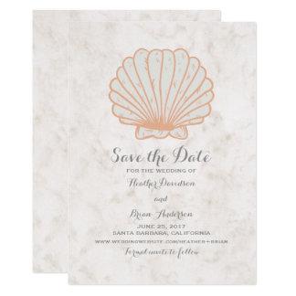 Economias que rústicas alaranjadas do Seashell a Convite 12.7 X 17.78cm