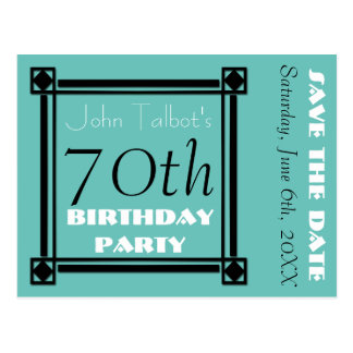 Economias retros da festa de aniversário do 70 do cartão postal