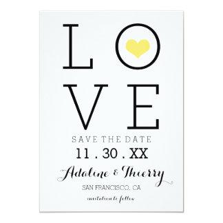 Economias simples amarelas do amor a data convite 12.7 x 17.78cm