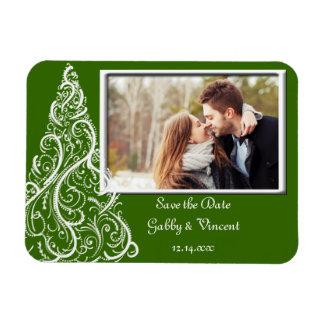 Economias verdes do casamento no inverno do Natal Foto Com Ímã Retangular