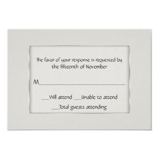 Ecru multifacetado e cartão de prata da resposta convite 8.89 x 12.7cm