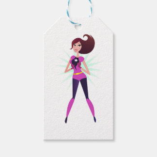 Edição original do design da menina do super-herói etiqueta para presente