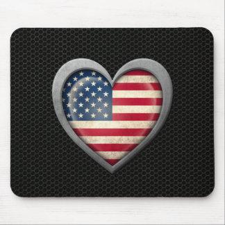 Efeito de aço da malha da bandeira americana do co mouse pads