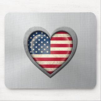 Efeito de aço inoxidável da bandeira americana do  mousepads