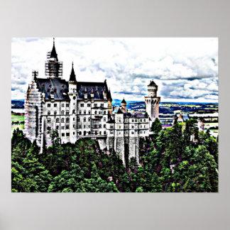 Efeito de HDR do castelo de Neuschwanstein Pôsteres