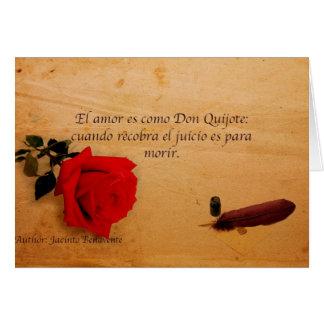 EL Quijote do como do es do amor do EL Cartão Comemorativo
