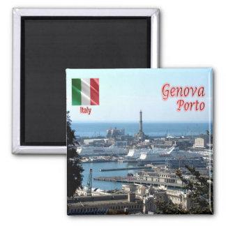 ELE - Italia - Genoa - porto do panorama Ímã Quadrado