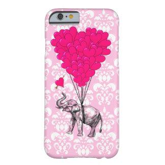Elefante bonito engraçado & damasco cor-de-rosa capa iPhone 6 barely there