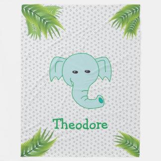 Elefante bonito monograma conhecido feito sob cobertor de velo