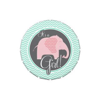 Elefante da menina; aqua Chevron verde Latinhas Personalizadas
