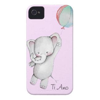 Elefante do bebê com a caixa de Blackberry do rosa Capas De iPhone 4 Case-Mate
