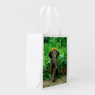 Elefante do bebê sacolas ecológicas para supermercado