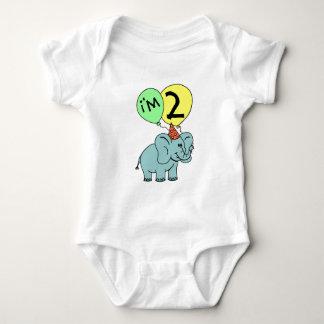 Elefante do segundo aniversário body para bebê