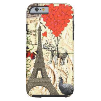 Elefante do vintage & balões vermelhos do coração capa tough para iPhone 6
