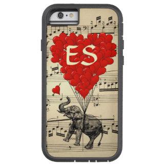 Elefante do vintage & balões vermelhos do coração capa tough xtreme para iPhone 6