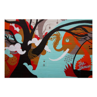 Elefante e árvore da arte abstracta poster