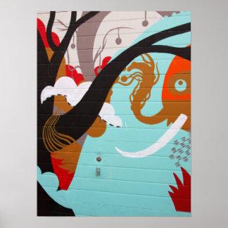 Elefante e árvore da arte abstracta pôster
