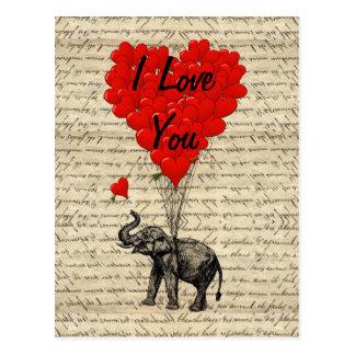 Elefante e balões dados forma coração cartão postal