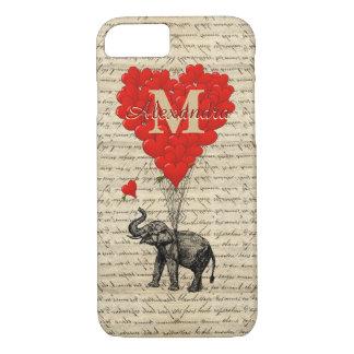 Elefante e coração românticos Monogrammed Capa iPhone 7