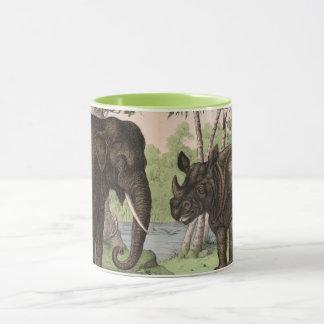 Elefante e rinoceronte do vintage caneca