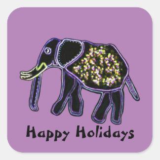 Elefante elétrico boas festas adesivo em forma quadrada