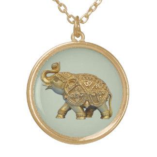 Elefante indiano colar banhado a ouro