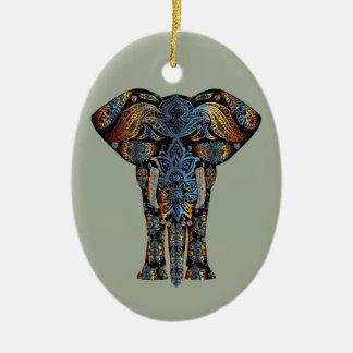 Elefante indiano ornamento de cerâmica oval