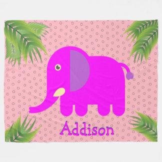 Elefante magenta monograma feito sob encomenda cobertor de velo
