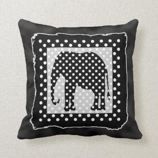 Elefante preto e branco, bolinhas travesseiros