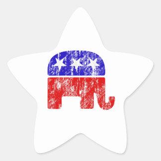 Elefante republicano desvanecido adesivos em forma de estrelas