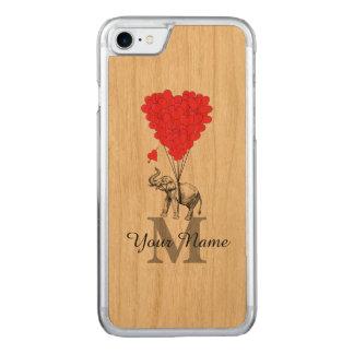 Elefante romântico engraçado capa para iPhone 7 carved