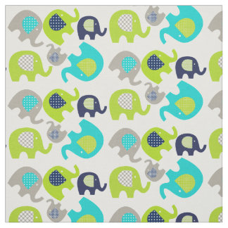 Elefantes cinzentos do verde azul no tecido branco