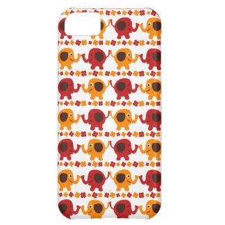 Elefantes vermelhos e alaranjados bonitos que capa para iPhone 5C