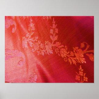Elegância floral vermelha mim poster