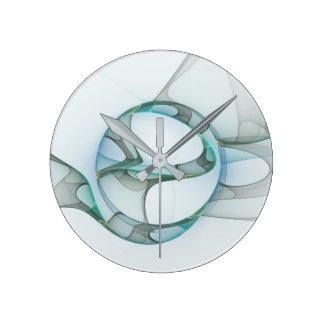 Elegância minimalista do Fractal, arte abstracta Relógio Redondo