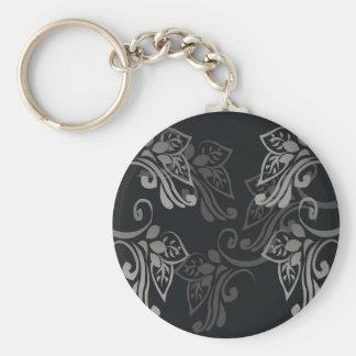Elegant_patterns_black_flowers_swirls_designs Chaveiro