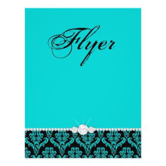 Elegante azul do preto do damasco do cabeleireiro  panfletos personalizado
