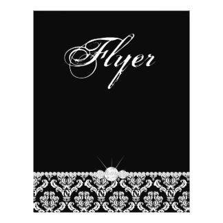 Elegante branco do preto do damasco do cabeleireir modelo de panfleto