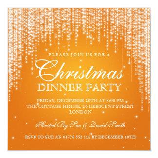 Elegante brilhe a laranja da festa natalícia do convite quadrado 13.35 x 13.35cm