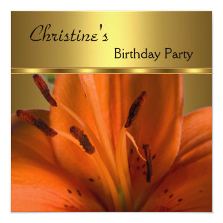 Elegante convide a flor da laranja do ouro da convite quadrado 13.35 x 13.35cm