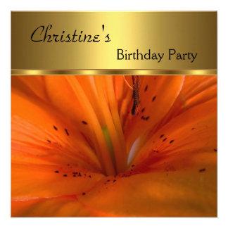 Elegante convide a flor da laranja do ouro da fest convites