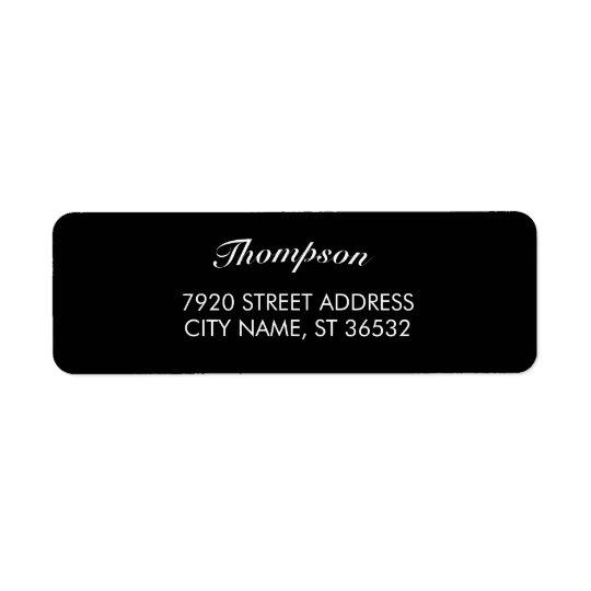 Elegante preto à moda do nome de família etiqueta endereço de retorno
