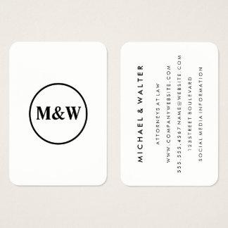 Elegante profissional do monograma cartão de visitas