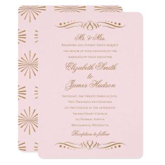 Elegantes clássicos coram e o convite do casamento